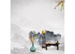 伏案山峰水墨中国风背景