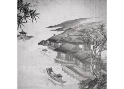 古典建筑木船中国风背景