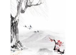 柳树梅花水墨画背景