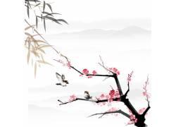 梅花竹叶中国风背景