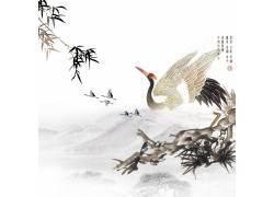 仙鹤竹叶水墨画背景
