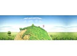 绿色地球与草地背景横幅