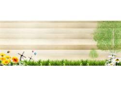 手绘卡通树木背景横幅