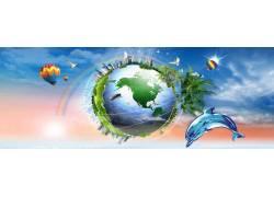 卡通动物绿色地球背景横幅