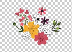 彩色水墨花朵