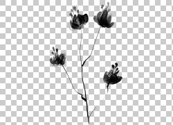 黑色水墨花朵