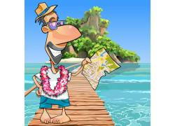卡通夏威夷旅行