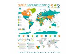 矢量扁平化世界地图图片