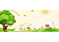 卡通树木花朵背景横幅