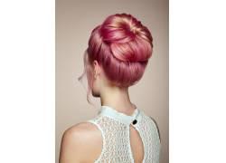 美女棕粉色头发