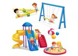 矢量幼儿园游乐设施