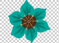 绿色水墨花朵