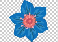 蓝色水墨花朵