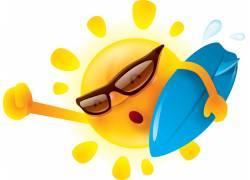 拿冲浪板的太阳