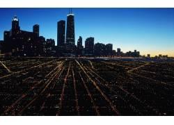 黎明城市美景图片