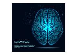 蓝色科技大脑背景