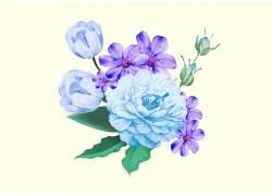 手绘蓝色鲜花素材