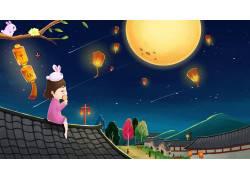 中秋节小女孩吃月饼