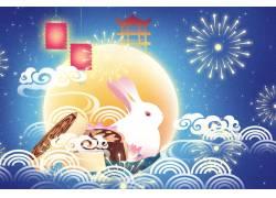 中秋节玉兔插画