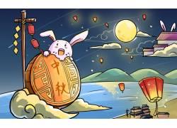 中秋节玉兔吃月饼