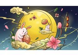 中秋节的玉兔创意插画