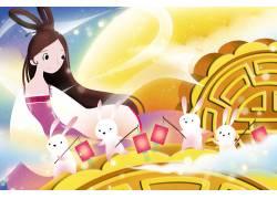 嫦娥姐姐带领玉兔们过中秋节