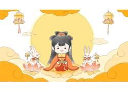 嫦娥玉兔简笔插画