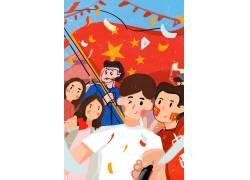 卡通国庆拍照