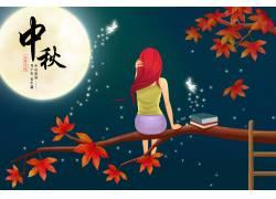 坐在枫树上的小女孩图片