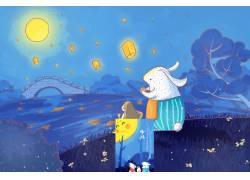 卡通女孩和兔子图片