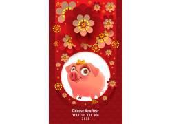 红色可爱猪海报