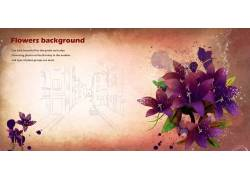 紫色花朵别墅背景