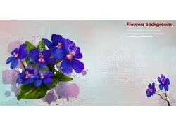 紫蓝色花卉别墅背景