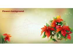 红色迎春花背景