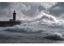 海浪和灯塔风景摄影