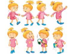 金发女孩卡通动物素材图片