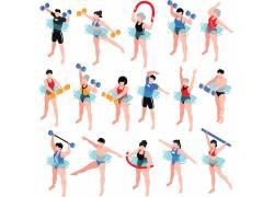 游泳池健身动作矢量素材