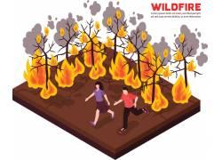 森林火灾逃生3D素材图片