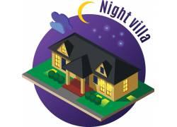 彩色房屋夜景模型