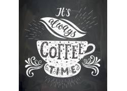 咖啡黑板画海报