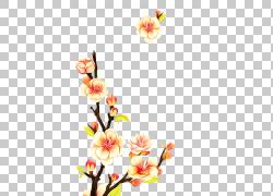 美丽绽放的水墨花朵