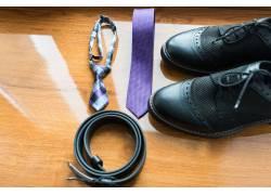 商务皮鞋腰带领带