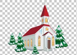 圣诞教堂服务,冬季教会与雪树,白色和红色教堂PNG剪贴画建筑,圣诞图片