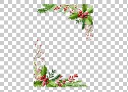 圣诞卡贺卡礼物,圣诞节水彩,红色果子例证PNG clipart边框,水彩画图片