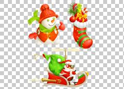 圣诞老人圣诞礼物插图,圣诞老人发送礼物PNG剪贴画食品,圣诞节装图片