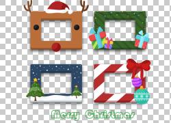 圣诞树派对框架照片展位,4创意圣诞节矩形框PNG剪贴画png素材,文
