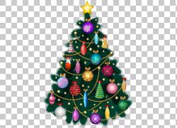 圣诞树圣诞节装饰,圣诞节装饰树,绿色圣诞树例证PNG clipart水彩图片
