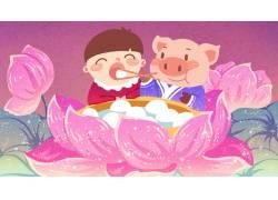 卡通小猪男孩